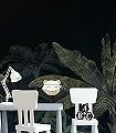 Panoramique-Olea-Bäume-Blätter-Florale-Muster-FotoTapeten-Grün-Creme-Schwarz-und-Weiß