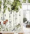 Panoramique-Sylvania-Tiere-Bäume-Vögel-Fauna-Florale-Muster-FotoTapeten-Multicolor