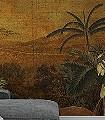 Panoramique-Tanzania-Blumen-Tiere-Bäume-Blätter-Vögel-Fauna-Florale-Muster-FotoTapeten-Multicolor