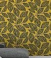 Pebble-Leaf,-col.04-Blätter-Florale-Muster-Moderne-Muster-Gelb-Anthrazit