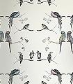 Perched-Birds,-cream-Vögel-Fauna-Florale-Muster