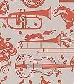 Pet-Sounds,-harvest-orange-Tiere-Blätter-Gegenstände-Moderne-Muster-KinderTapeten-Orange