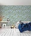 Pet-Sounds,-powder-blue-Tiere-Blätter-Gegenstände-Moderne-Muster-KinderTapeten-Olive-Hellblau