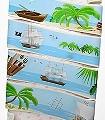 Piratenfahrt-Wellen-Landschaft-Figuren-Strand-Vögel-Wolken-Wasser-Zeichnungen-Comic-KinderTapeten-Multicolor