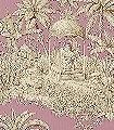 Pondichery,-lilas-Blumen-Tiere-Bäume-Landschaft-Blätter-Figuren-Toile-de-Jouy-Klassische-Muster-Fauna-Florale-Muster-Braun-Rosa-Creme