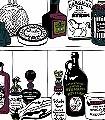 Potions,-colour-Flaschen-Moderne-Muster-Grün-Lila-Schwarz-Weiß-petrol