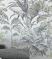 Pride-Palms-Bäume-Florale-Muster-FotoTapeten-Gelb-Anthrazit-Creme