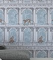 Procuratie-con-Vista,-col.-5-Tiere-Gebäude-Zeichnungen-Moderne-Muster-Braun-Anthrazit-Hellblau