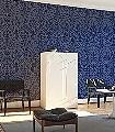 Pugin-Palace-Flock,-col.-3-Ornamente-Klassische-Muster-Blau