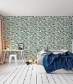 Royal-Garden,-col.01-Blätter-Vögel-Florale-Muster-Grün-Lila-Weiß