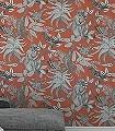 Savuti,-col.-01-Tiere-Vögel-Fauna-Florale-Muster-Orange-Schwarz