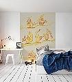 Schräge-Vögel-Vögel-Zeichnungen-KinderTapeten-Rot-Gelb-Orange