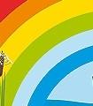 Seilbahn-Bordüre-Blumen-Figuren-KinderTapeten-Multicolor-Hellblau