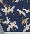 Sencha,-marine-Tiere-Vögel-Fauna-Blau-Gold-Weiß
