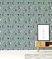Shelf,-blue-Blumen-Gegenstände-Vintage-Tapeten-Moderne-Muster-Blau-Grau-Anthrazit-Hellgrün-Weiß