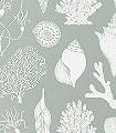 Shells---Aqua-Nautic-Korallen-Fauna-Hellgrün-Creme