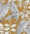 Sibia,-col.-4-Tiere-Blätter-Vögel-Fauna-Florale-Muster-Blau-Gold-Türkis-Weiß-Ocker