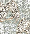 Sibia,-col.-6-Tiere-Blätter-Vögel-Fauna-Florale-Muster-Grün-Gold-Braun-Hellgrün-Weiß