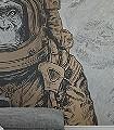 Space-Monkey,-M-Tiere-Fauna-Moderne-Muster-FotoTapeten-Grau-Bronze