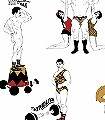 Strongman,-colour-Figuren-Moderne-Muster-Rot-Grau-Weiß-Ocker