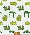 Succulent-Blumen-Moderne-Muster-KinderTapeten-Grün-Schwarz-Hellgrün-Weiß