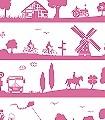 Summertime,-rose-Wellen-Bäume-Landschaft-Figuren-Gebäude-Fahrzeuge-Vögel-Wolken-Sonne-Kinder-Flugzeuge-KinderTapeten-Rosa-Weiß