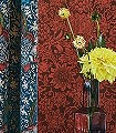 Sunflower-Chocolate/Red-Blumen-Blätter-Klassische-Muster-Florale-Muster-Rot-Braun