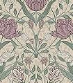 Svian,-col.-7-Blumen-Blätter-Klassische-Muster-Jugendstil-Grün-Lila-Grau-Hellgrün-Weiß-Creme