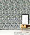 Svian,-col.-8-Blumen-Blätter-Klassische-Muster-Grün-Blau-Grau-Hellgrün-Weiß-Hellblau