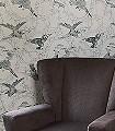 Taxidermy-Birds,-petrol-Blätter-Vögel-Fauna-Moderne-Muster-Weiß-petrol