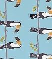 Terry-Toucan,-col.71-Vögel-KinderTapeten-Anthrazit-Schwarz-Weiß-mint