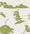 The-Final-Frontier,-green-Figuren-Flugzeuge-KinderTapeten