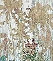 The-Jungle-design,-col.-48-Tiere-Bäume-Blätter-Fauna-Florale-Muster-FotoTapeten-Grün-Blau-Braun-Creme