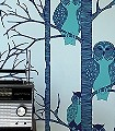 The-Owls,-blue-Tiere-Bäume-Fauna-Moderne-Muster-Türkis-mint