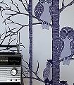 The-Owls,-plum---Tiere-Bäume-Fauna-Moderne-Muster-Blau-Silber