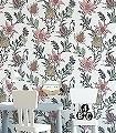 Thistle,-col.-3-Blumen-Blätter-Florale-Muster-Rot-Grün-Orange-Anthrazit-Weiß