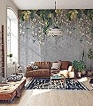 Trailing-Orchid,-col.-2-Blumen-Vögel-Florale-Muster-FotoTapeten-Multicolor