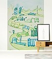 Traum-auf-Rädern--Gebäude-Fahrzeuge-Zeichnungen-KinderTapeten-Grün-Blau