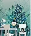 Tribute-Jungle,-col.-1-Tiere-Bäume-Landschaft-Blätter-Vögel-Fauna-Florale-Muster-Moderne-Muster-FotoTapeten-Multicolor