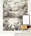 Tropical-Charcoal-Bäume-Landschaft-Zeichnungen-Berge-FotoTapeten-Exoten-Schwarz-und-Weiß