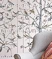 Uccelli,-col.-2-Bäume-Blätter-Vögel-Fauna-Florale-Muster-FotoTapeten-Multicolor