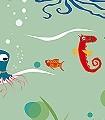 Unterwasserwelt-Motiv,-col.-02-Unterwasserwelt-Fische-Fauna-KinderTapeten-Hellgrün-Multicolor