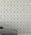 Valerian-col.11-Quadrate/Rechtecke-Jugendstil-Klassische-Muster-Jugendstil-Grün-Creme-Ocker