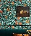 Vines-of-Pomona,-col.-5-Blumen-Blätter-Früchte-Florale-Muster-Rot-Grün-Orange-Anthrazit