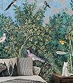 Viridarium-Blumen-Tiere-Blätter-Vögel-Äste-Asia-Fauna-Florale-Muster-FotoTapeten-Multicolor