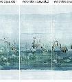 Waterside-aqua,-col.-3-Tiere-Bäume-Landschaft-Blätter-Vögel-Fauna-Florale-Muster-Moderne-Muster-FotoTapeten-Multicolor