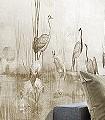Waterside-sand,-col.-1-Tiere-Bäume-Landschaft-Blätter-Vögel-Fauna-Florale-Muster-Moderne-Muster-FotoTapeten-Braun-Creme