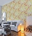 Wave-Ornamente-Blumen-Moderne-Muster-Rot-Orange-Hellgrün-Creme