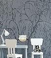Weeping-Willows,-Still-Waters-Blue-Bäume-Florale-Muster-FotoTapeten-Grau