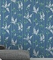 Wisteria,-col.-5-Blumen-Blätter-Äste-Florale-Muster-Grün-Blau-Weiß